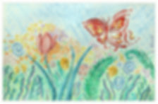 Watercolor Pencil Art - Butterfly in Flower Garden