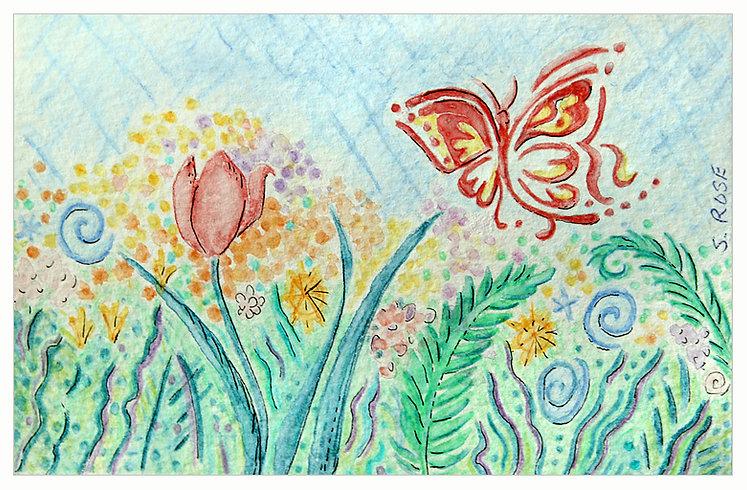 Watercolor Pencil Art - Butterfly in Flower Garden