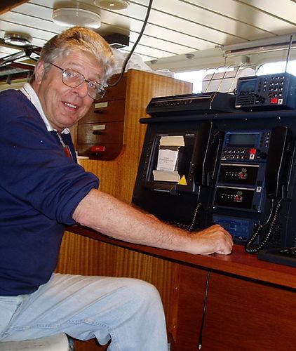 Neville Cresdee in Radio Room of Mercy Ship Anastasia