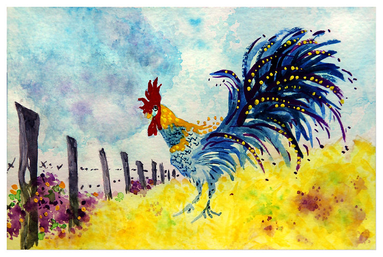 Rooster by Country Fence
