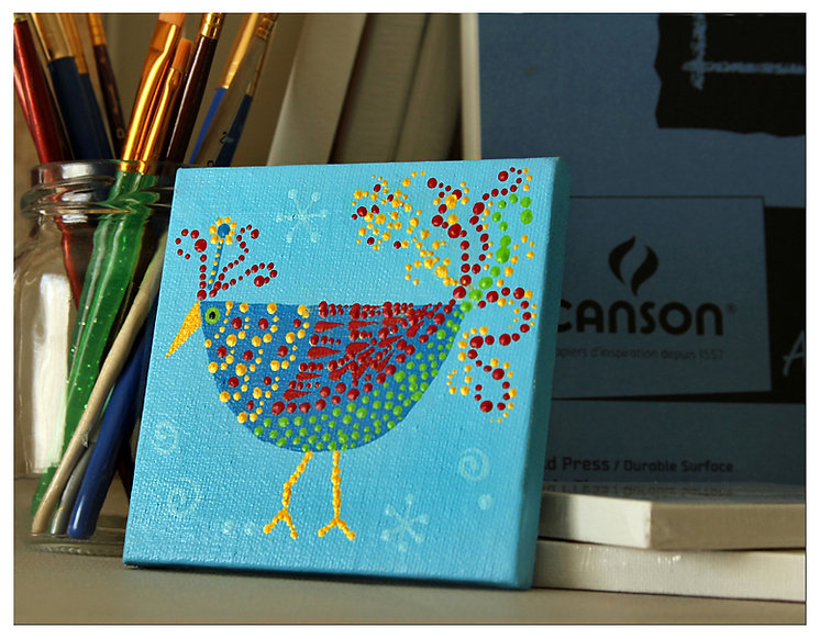 "Fancy Bird 4x4"" Acrylic Painting Dot Art"
