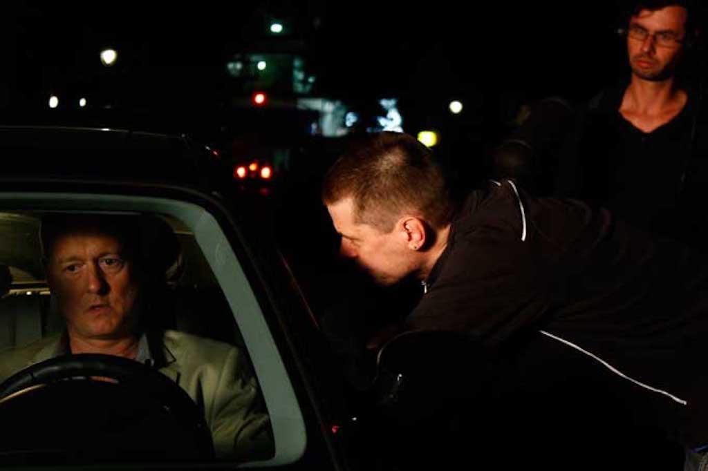 Ian Dickinson as David, with director Al