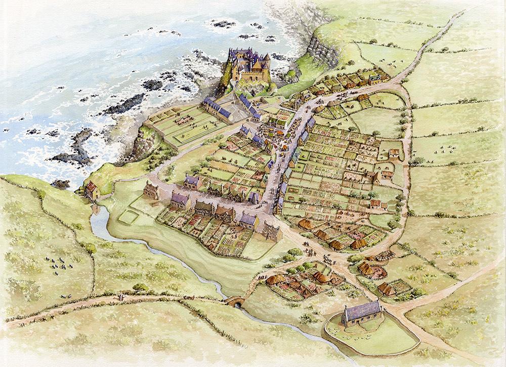 Artist's impression of the Plantation village at Dunluce Castle