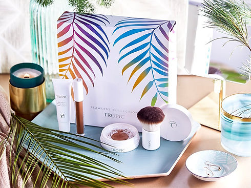 tropic flawless collection makeup mineral natural savings beauty booster foundation illuma kabuki brush