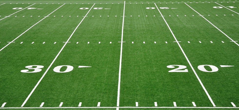 20 and 30 Yard Line on American Football