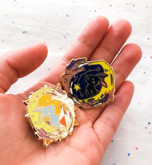 Sun and Moon Bunny Pins