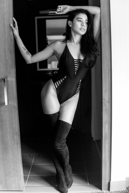 Sexy-classy-black-white-thigh-high-boots-lingerie-boudoir