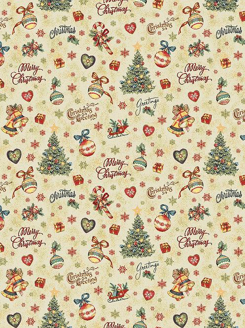 Weihnachtstischtuch Feier mit Saum, Stoffbreite 160 cm