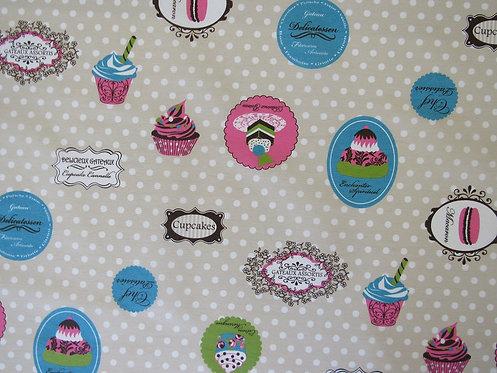 Tischtuch / Set / Läufer Cupcake beschichtet, Stoffbreite 140 cm