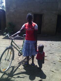 Kadja and her new bicycle