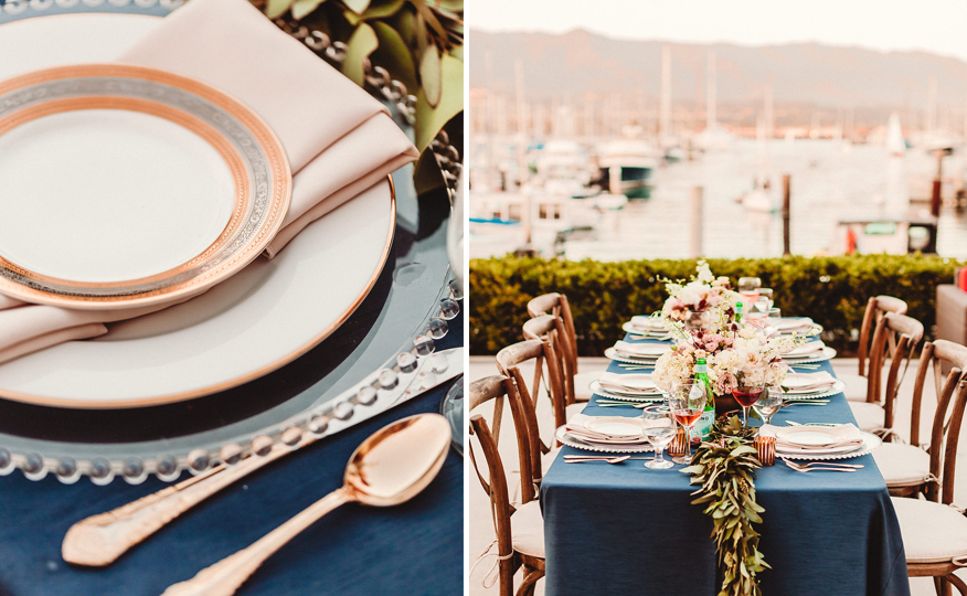 Santa Barbara wedding photographer, Rewind Photography, captures the gorgeous waterfront wedding venue of the Santa Barbara Maritime Museum.  Featuring wedding flowers from Emma Rose Floral, linens from Luxe Linen, rentals from Ventura Rentals and specialty desserts from Sweet Lisi's, Cinnies, Your Cake Baker and Renaud's Patisserie.  This beautiful shoot was coordinated by Gatherings for Good.