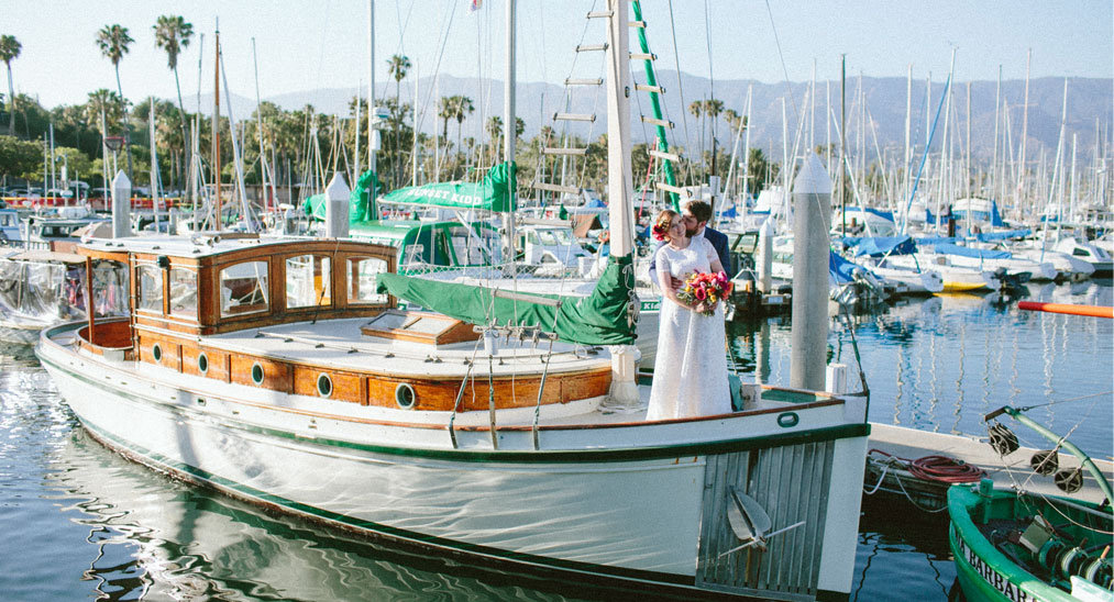 Caitlin and Matt's real wedding at the beachfront wedding venue - the Santa Barbara Maritime Museum.  With gorgeous wedding flowers by Ella and Louie, Alex Rapada wedding photographer and a beach wedding ceremony