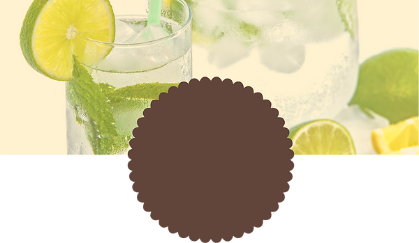 Lime Juice Glass with a slice of Lime