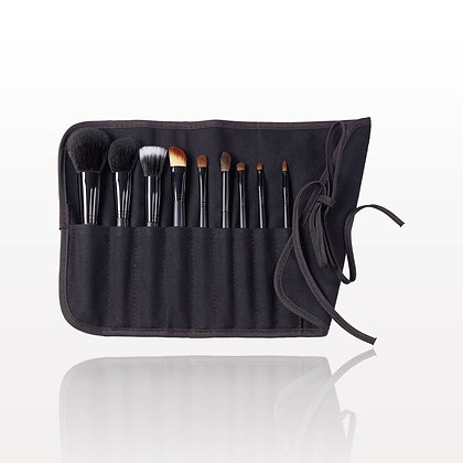 9-Piece Signature Black Brush Set with Roll & Tie