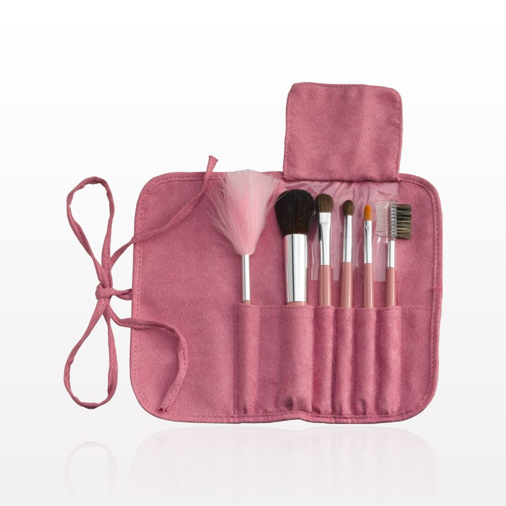 6- Piece Brush Set with Roll & Tie Pink Pouch