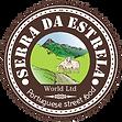 Serra da Estrela World Cheese Logo; Two Sheep eating Grass near Mountains