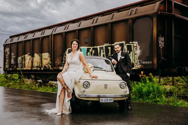 A wedding with a train