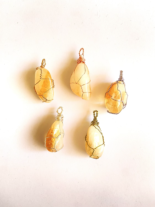Wire Wrapped Citrine on Silk