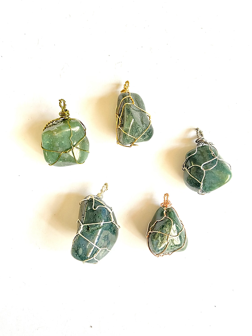 Wire Wrapped Moss Green Agate on Silk