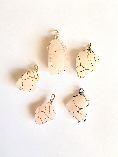 Wire Wrapped Rose Quartz on Silk