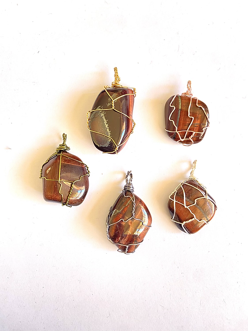 Wire Wrapped Red Tigers Eye on Silk