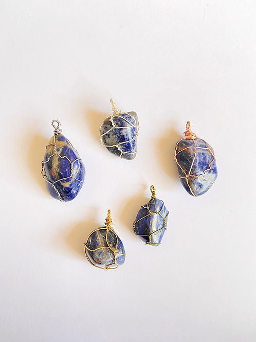 Wire Wrapped Sodalite on Silk