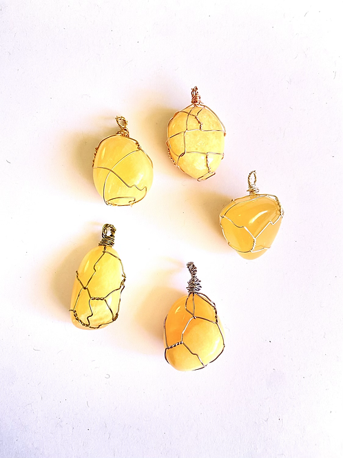 Wire Wrapped Yellow Calcite on Silk