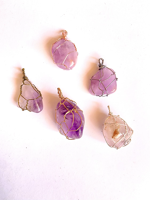 Wire Wrapped Light Amethyst on Silk
