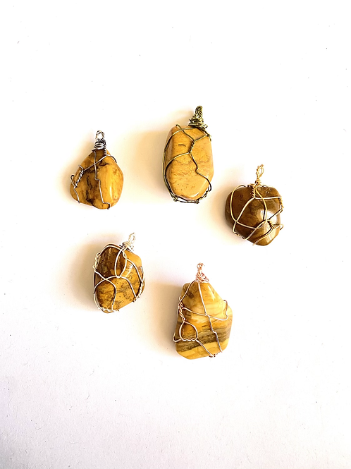 Wire Wrapped Yellow Jasper on Silk