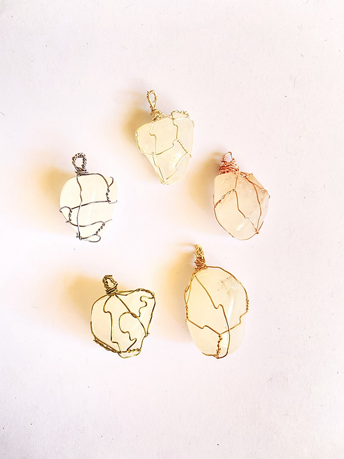 Wire Wrapped Clear Quartz  on Silk