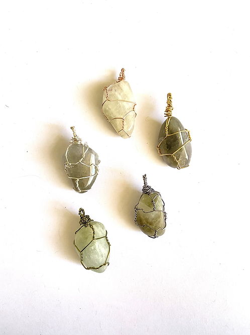 Wire Wrapped Green Amethyst on Silk