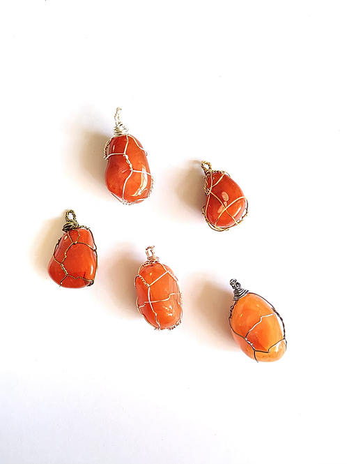 Wire Wrapped Carnelian on Silk
