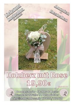Holzherz mit Rose