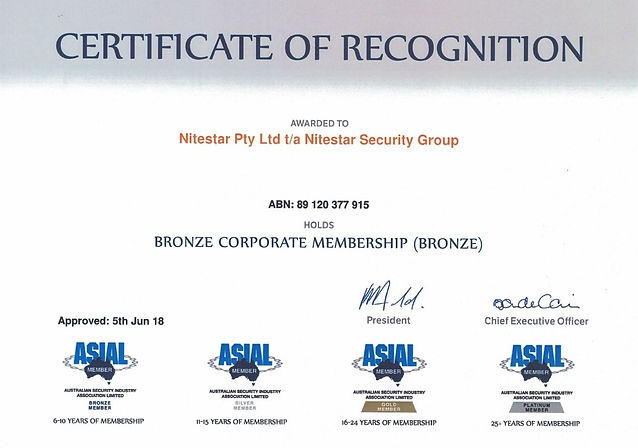 Cetificate of recognition ASIAL