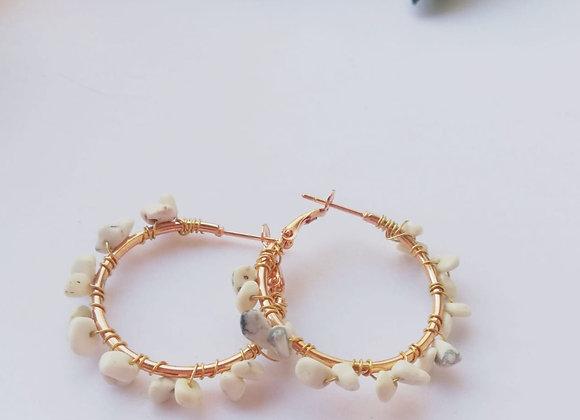 Aros Soul Coral blanco 3.5 cm