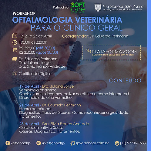Worskshop Online de Oftalmologia Veterinária para o Clínico Geral.