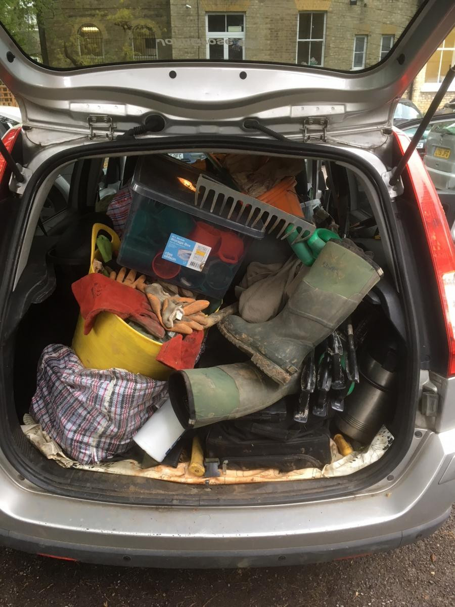 Boot of a car fully loaded with conservation gear