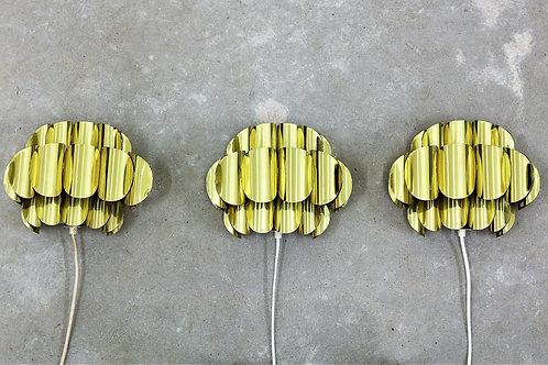 Set of 3 wall sconces in brass. Werner Schou.