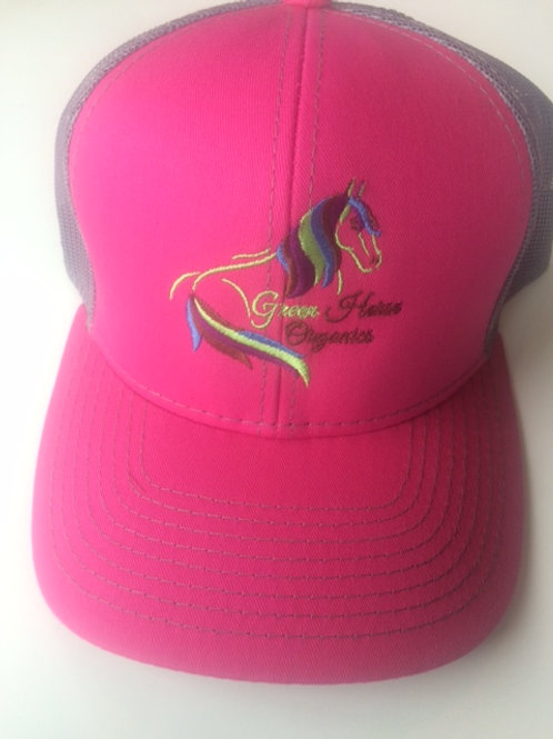 Pink and Gray Green Horse Organics Logo Hat