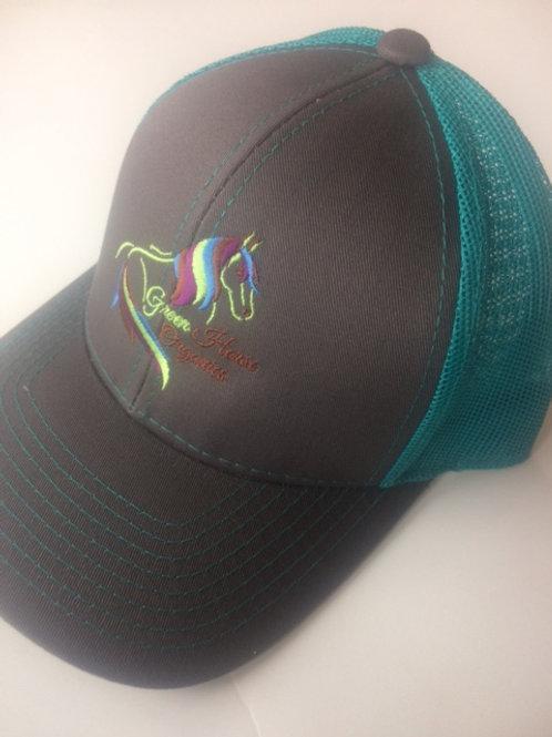 Teal & Gray Green Horse Organics Logo Cap