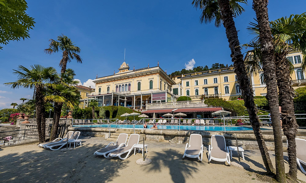 The private beach at the Grand Hotel Villa Serbelloni