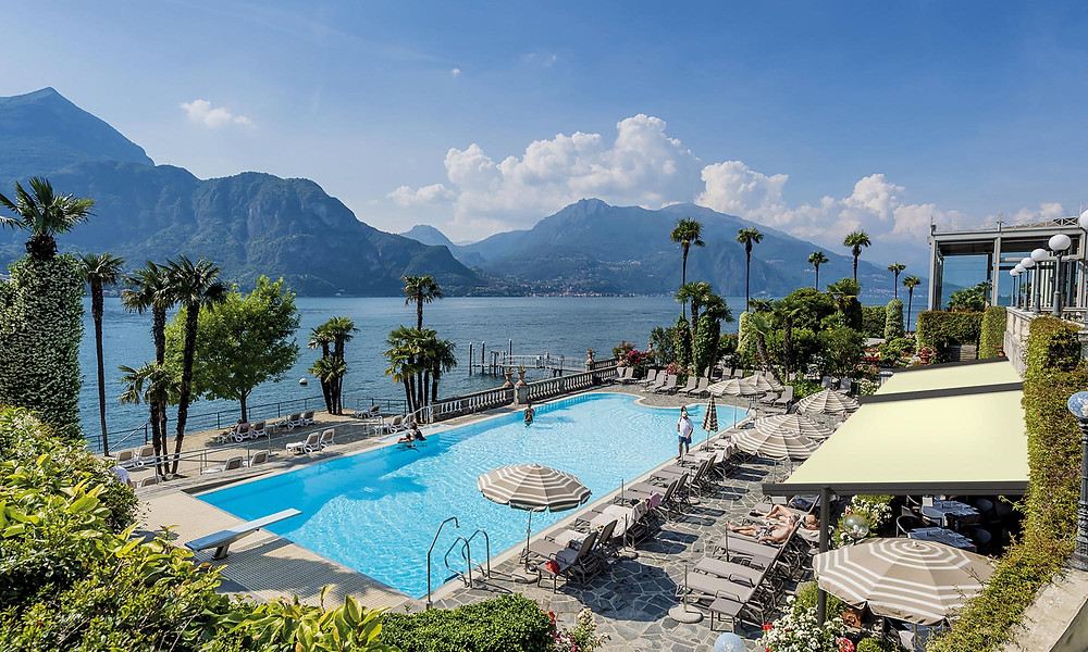 The outdoor pool at the Grand Hotel Villa Serbelloni