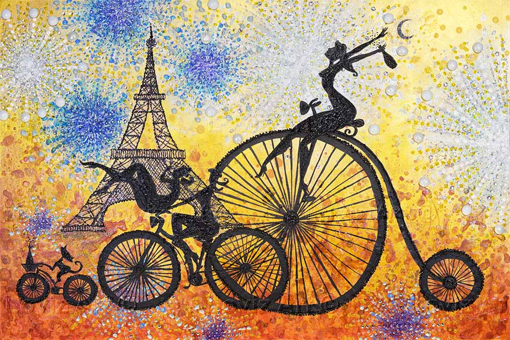 1513_Riding a Parisian Party 60x90cm