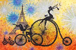 1513_Riding a Parisian Party 60x90cm