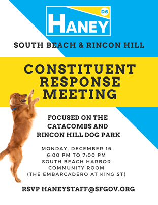 Supervisor Haney's Catacombs & Rincon Hill Dog Park Constituent Response Meeting