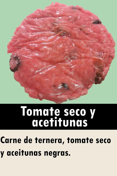 Hamburguesa de tomate seco y aceitunas