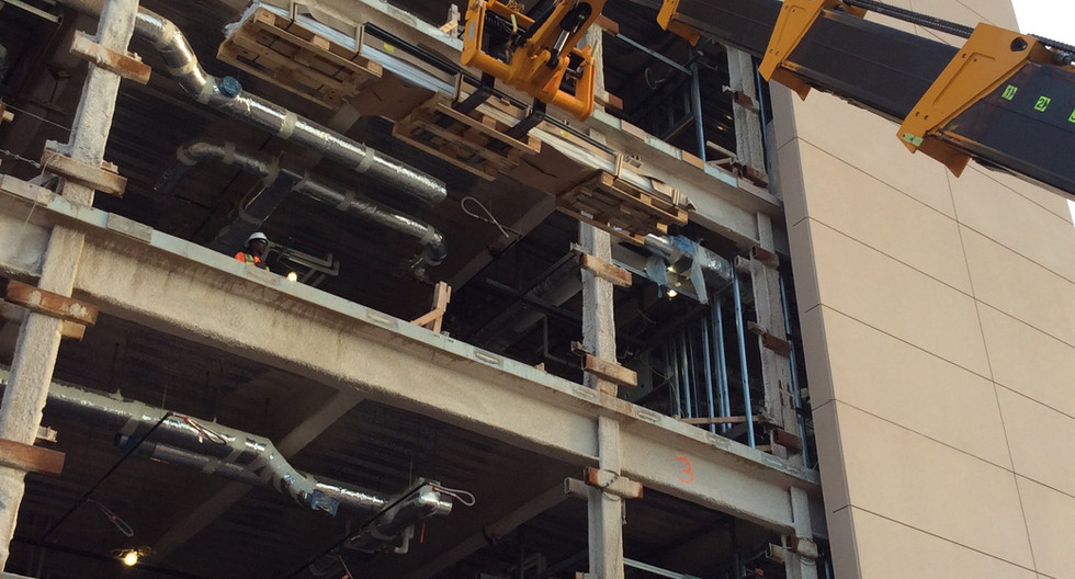 Loading 16 ft Rails into 4th fl Cleveland Clinic