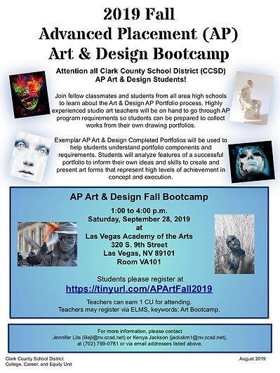 2019 Fall AP Art & Design Bootcamp FLYER