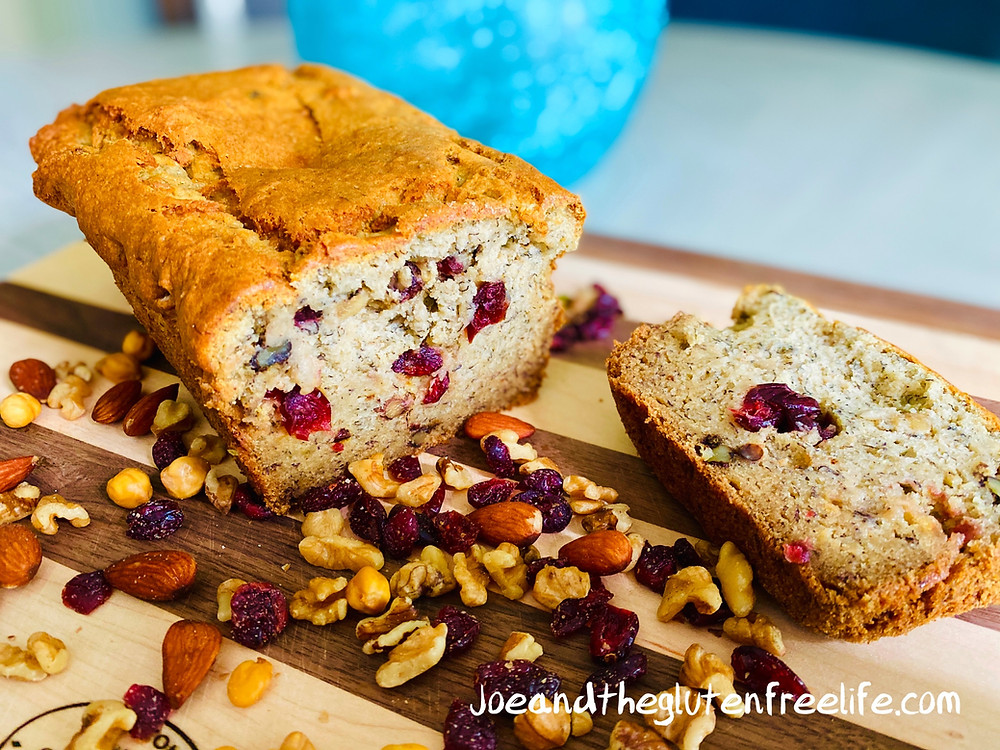 This is the best gluten free banana bread you'll ever have! Loaded with cranberries with almonds, walnuts, and pistachios. Absolutely delicious!