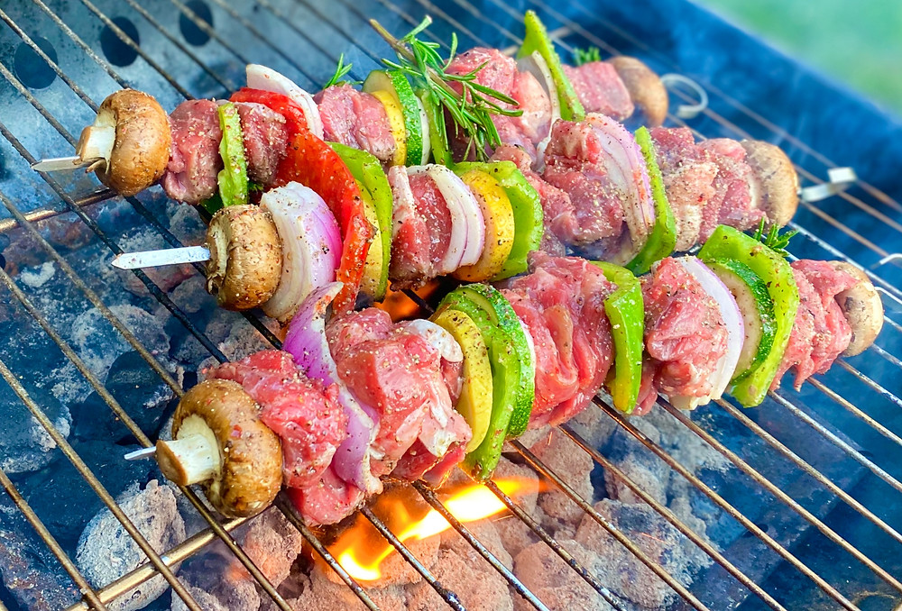 Easy to make and delicious marinated Beef Steak cubes grilled with Assorted Vegetables and Herbs.